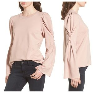 NWT Hinge Pearl Button Long Sleeve Top Pink Adobe